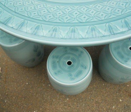 Chinese celadon Garden tea table set WRYAZ324 : celadon garden stool - islam-shia.org