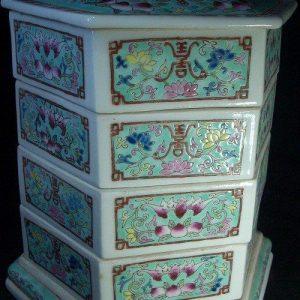 WRYFH03 Famille rose ceramic snack box