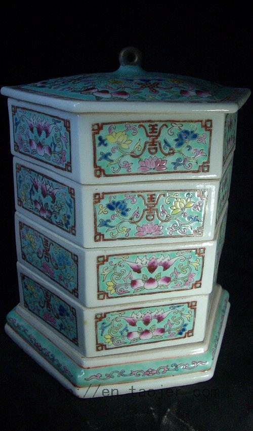 WRYFH03 Famille rose ceramic snack box