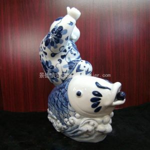 Asian Chinese porcelain boy and fish figurine WRYEQ07