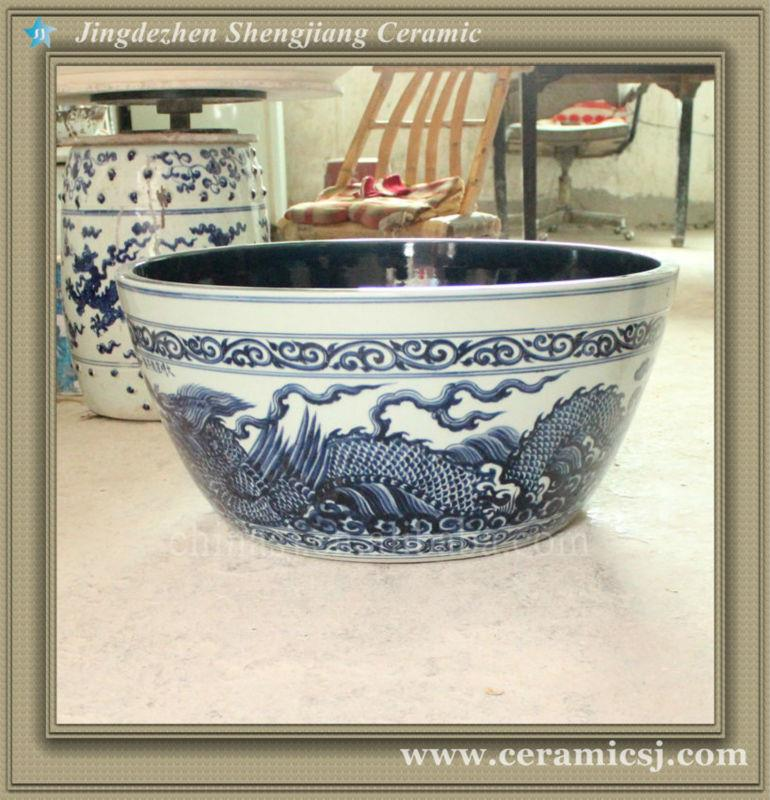RYWC05 Antique Blue And White Oriental Ceramic Flower Pot