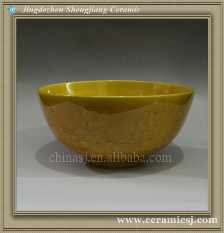 RYJN10 oriental dragon ceramic yellow bowl