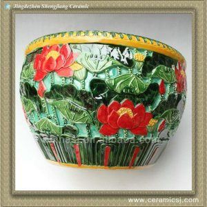 RYSX06 hand engraved flower design big porcelain fish bowl