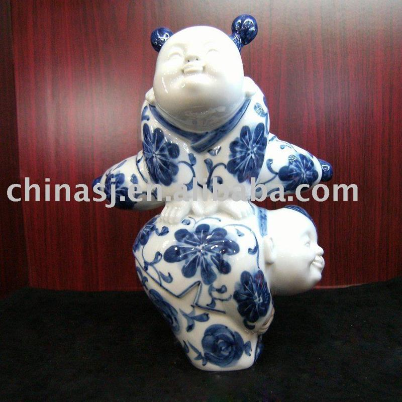 Antique Chinese playing children ceramic figurine WRYEQ05