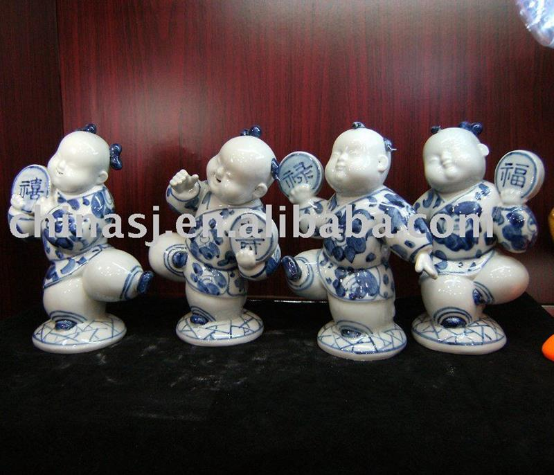 Set of 4 small boy porcelain figurine WRYEQ10