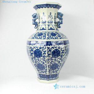 "RYTM06 21.9"" Blue and white Floral antique ceramic vases"