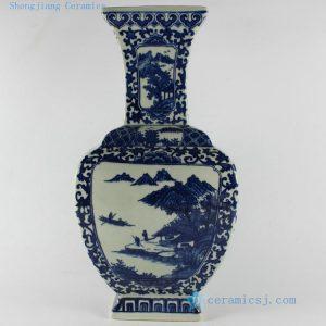 """RYTM08 15"""" Blue and white landscape ceramic flower vase"""