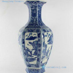 "RYTM13 H15.5"" Blue white landscape vase home decoration items"
