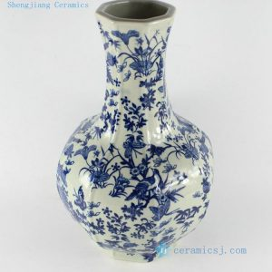 "RYTM14 13"" Blue white butterfly bird decorated pottery vases"