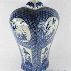 "RYTM15 H15.3"" Blue white floral bird home accessory vases"