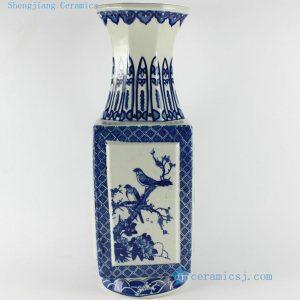 "RYTM18 15"" Blue white antique home decoration porcelain vase"