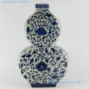 "RYTM23 14"" Blue and white floral antique blue vase"
