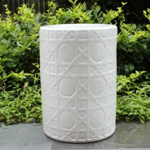 "RYNQ58 16.5"" Carved white Ceramic Stool side table"