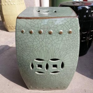 "RYHD21 16"" Green Crackle Ceramic Garden Stool"