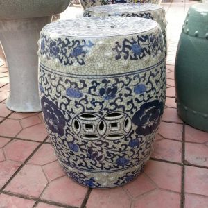 RYHD22 H16inch Blue and White Flower Crackle Ceramic Garden Stool