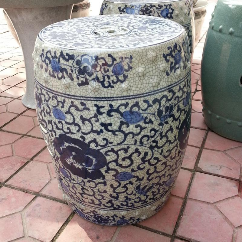 Ryhd22 H16inch Blue And White Flower Crackle Ceramic