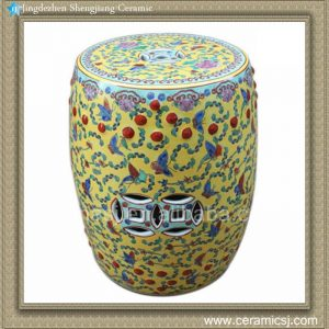 RYIR101 Hand painted Famille rose yellow blue red porcelain stool table outdoor