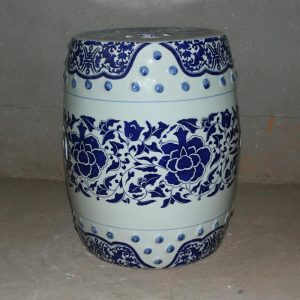 RYIR95 h40cm Blue and White Ceramic Decorative Stool