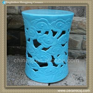 "RYIR97 17.7"" garden ideas Blue Ceramic Cloud Stool"