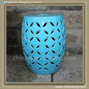 "RYIR98 17"" Blue rattan furniture Ceramic carved Stool"