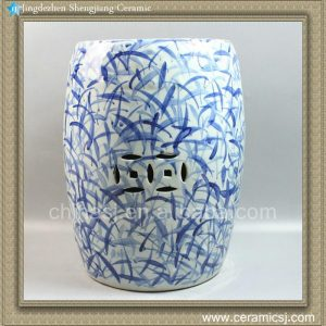 "RYLL17 16.9"" Blue and White Garden Furniture Direct Ceramic Stool"
