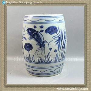 "RYLL20 14"" Blue and White Ceramic Gardeners Stool Fish design"