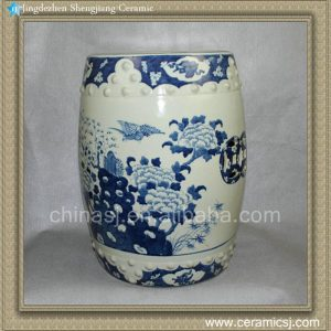 "RYLU10 17.7"" Blue and White paint flower bird Chinese garden stools"
