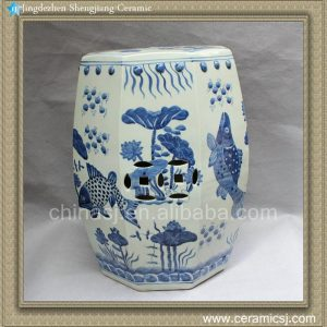 "RYLU11 17.7"" Blue and White Painted fish and flower Ceramic China Stool"