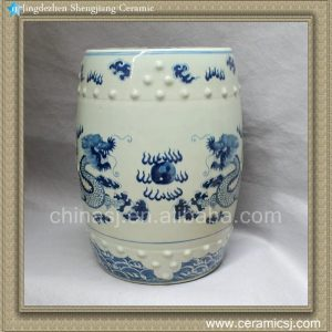 "RYLU12 17.7"" Chinese antique furniture Blue and White Painted dragon Ceramic Stool"