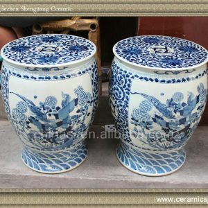 "RYLV06 16.9"" Blue and White antique chinese furniture Painted Porcelain Stool"