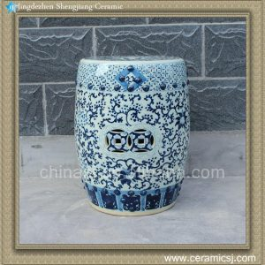 "RYLV07 17"" Blue and White painted Floral Ceramic Chinese Stools"