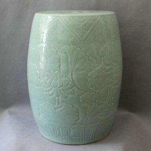 "RYMA54 17.3"" Celadon hand carved lotus garden ceramic stools"