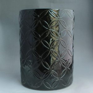 "RYNQ68 16.5"" Black carved Ceramic Chinese Stool"