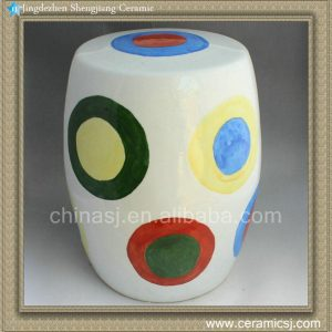 "RYNQ75 17"" Hand painted garden ceramic stool"