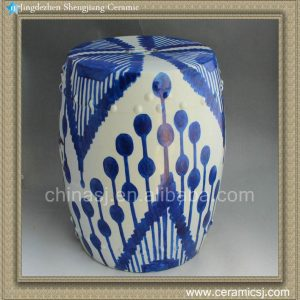 "RYNQ76 17"" garden furniture online Blue Ceramic Hand Painted Stool"