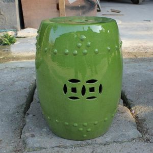 "RYNQ84 17.3"" outdoor lounge furniture Fine Crackle Green Ceramic Stools"