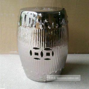 """RYNQ89 17.7"""" Silver Bamboo design Ceramic Stools"""