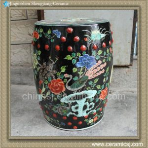 "RYQQ49 17.7"" Hand painted black floral bird outdoor coffee table stool"