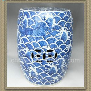 "RYSI12 17.7"" Chinese hand painted Blue and White Sea and Fish Garden Stool"