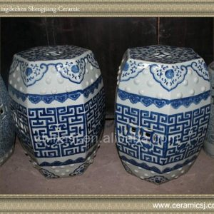 "RYVM20 18.8"" Chinese antiques Blue and White Hand painted Stool"