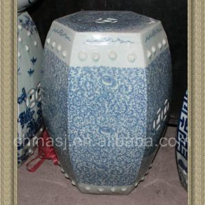 "RYVM21 18.8"" Blue and White Floral patio furniture sale Ceramic Stool"