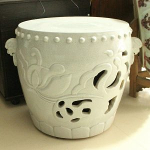 "RYWC03 18"" Hand Carved Crackle Ceramic furniture Asian Stool"
