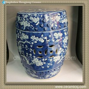 "RYWG04 17"" Blue and White Hand painted floral Garden Stool"