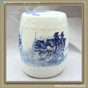 "RYWX01 H15.5"" Chinese Blue and White landscape Ceramic Garden Stool"