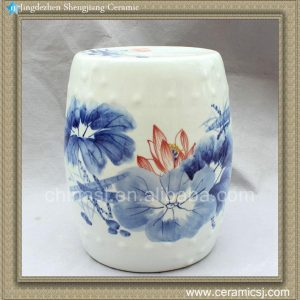 "RYWX02 15.5"" Blue and White Ceramic Drum Stool waterlily lotus"