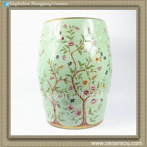 "RYYL07 18"" Blue Furniture outdoor Ceramic Decorative Stool Floral bird"