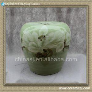 "RYYT03 14"" Green floral Ceramic seat garden Stool"