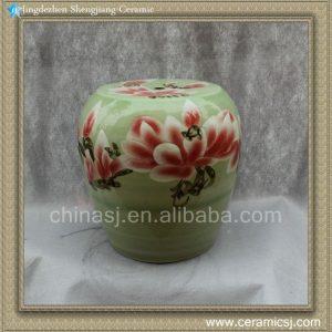"RYYT04 14"" Green floral Ceramic outdoor living Stool"