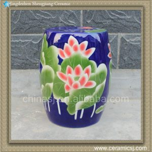 "RYYU01 H16.9"" Blue garden patio furniture Ceramic Stool floral"