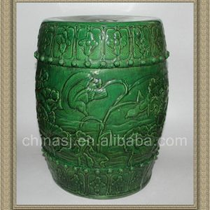 "RYZL05 H16.5"" Green hand carved flower bird Chinese porcelain stools"